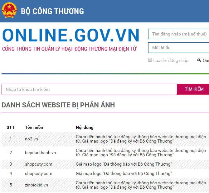 Trên website của Bộ Công Thương có liệt kê danh sách các website giả mạo logo